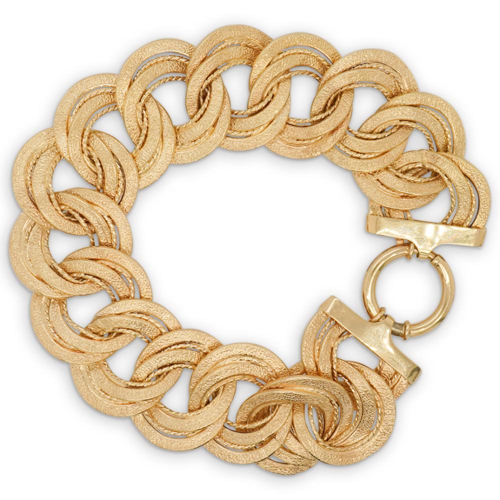 Italian 14k Gold Satin Link Bracelet