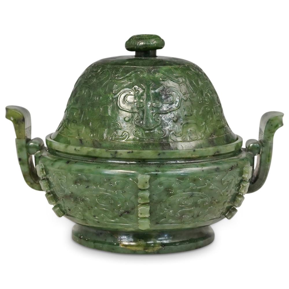 18th Cent. Archaic Spinach Jade Covered Censer