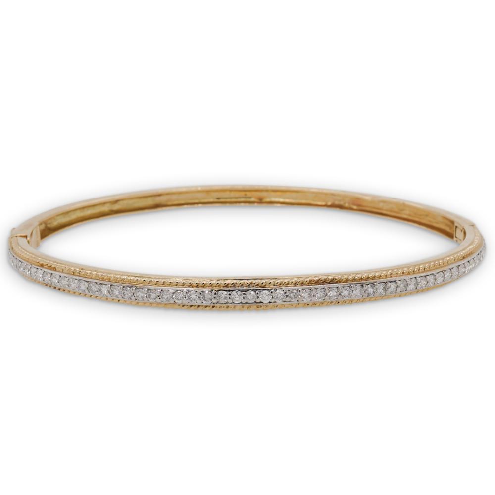 Vintage 14k Gold and Diamond Bangle Bracelet