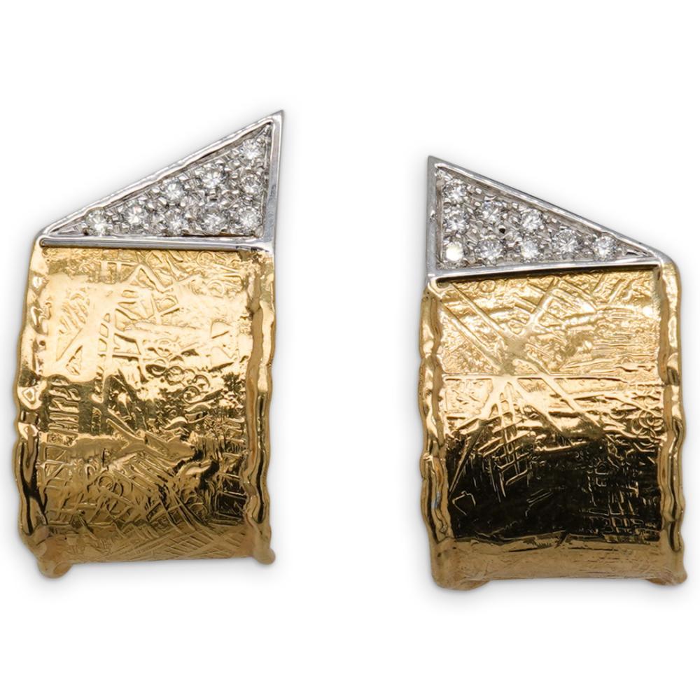 Italian 18k Gold and Diamond Earrings