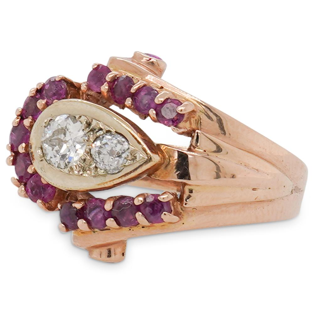 14k Gold, Diamond and Ruby Ring