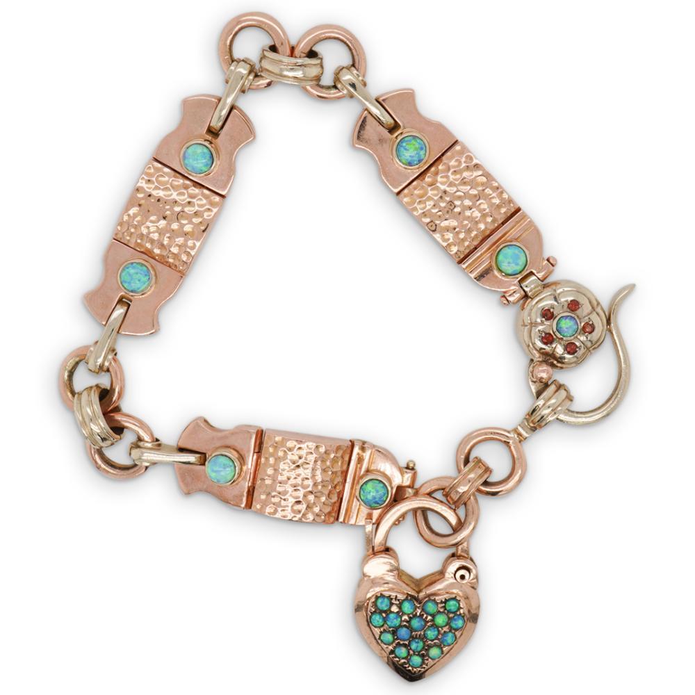 Vintage 14k Rose Gold and Opal Link Bracelet