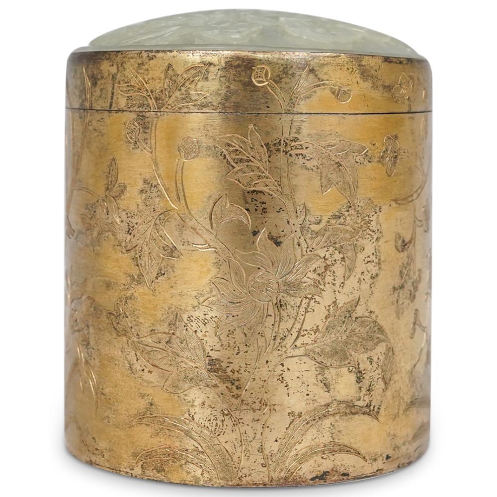18th Cent. Jade Celadon Plaque Mounted Gilt Box