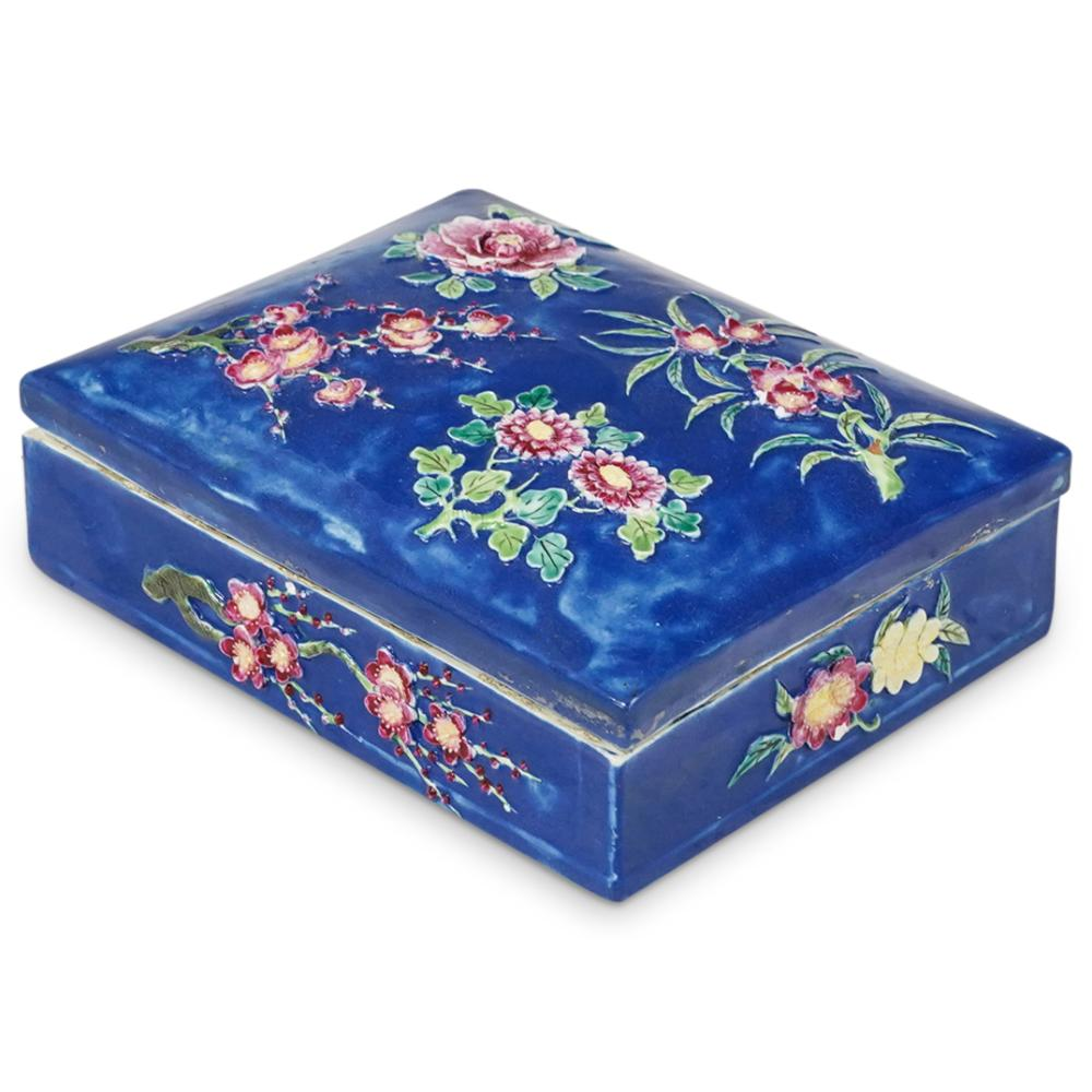 19th Cent. Chinese Porcelain Famille Rose Scholars Box