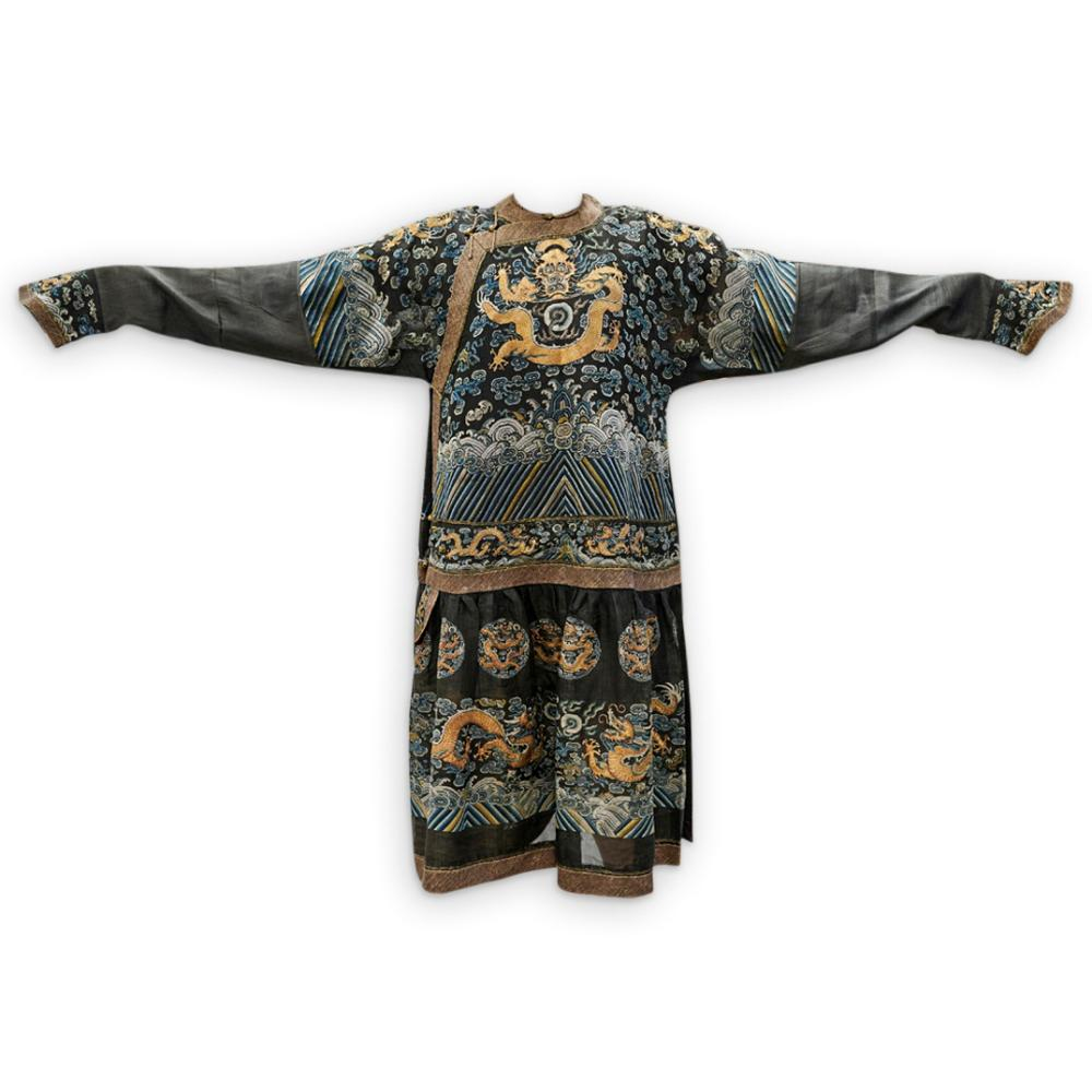 """Chinese Formal """"Chaopao"""" Silk Court Robe with Dragons"""