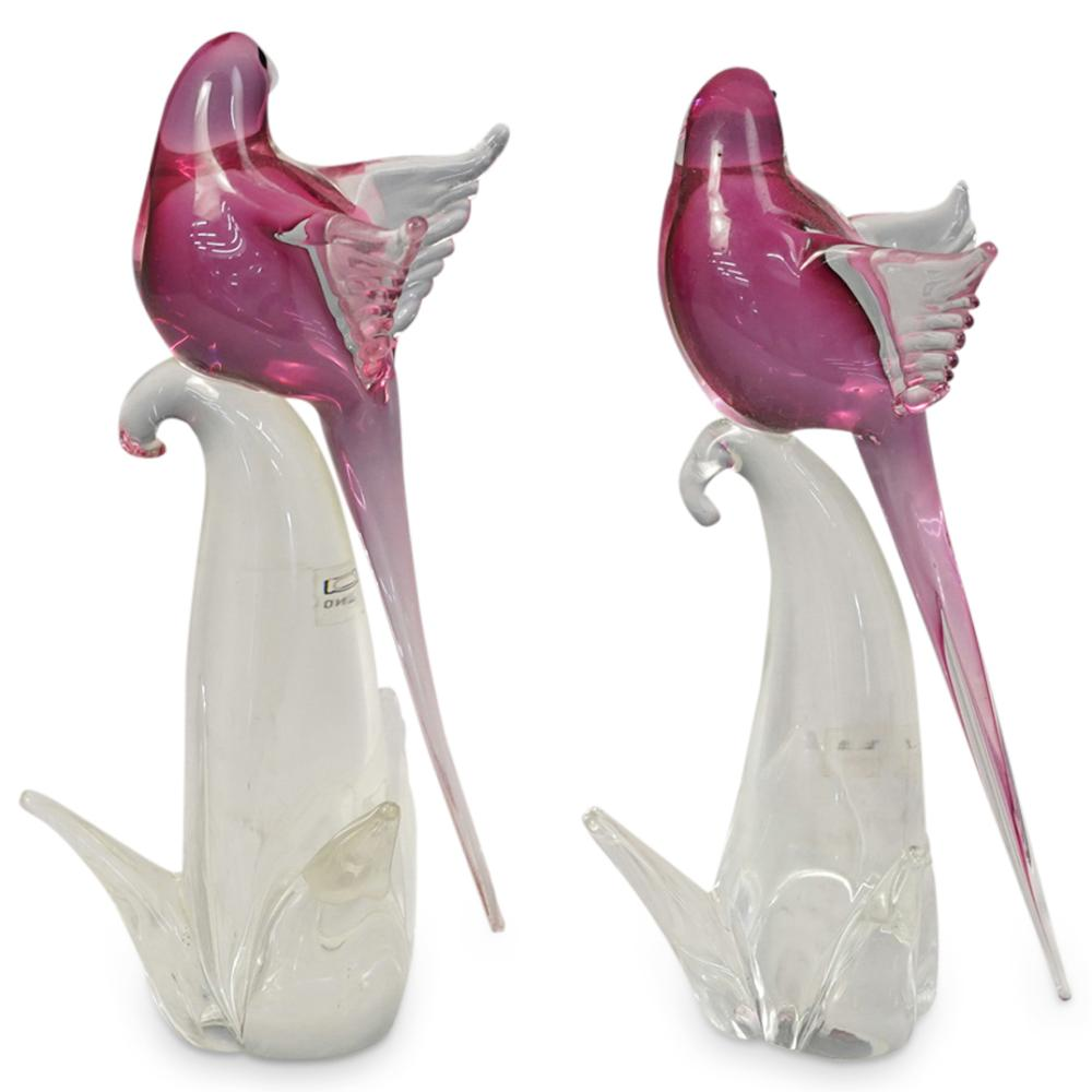 (2 Pc) Murano Art Glass Parrot Figurines