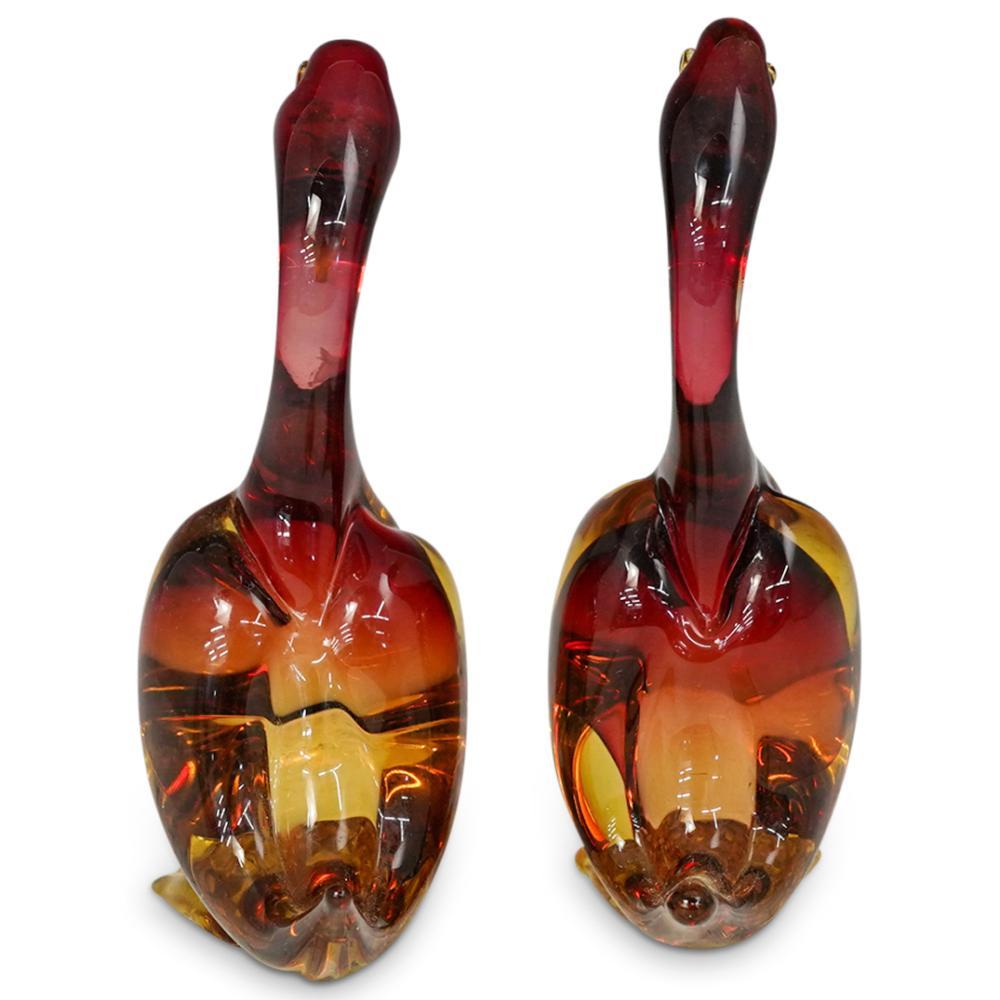 (2 Pc) Murano Art Glass Duck Figurines