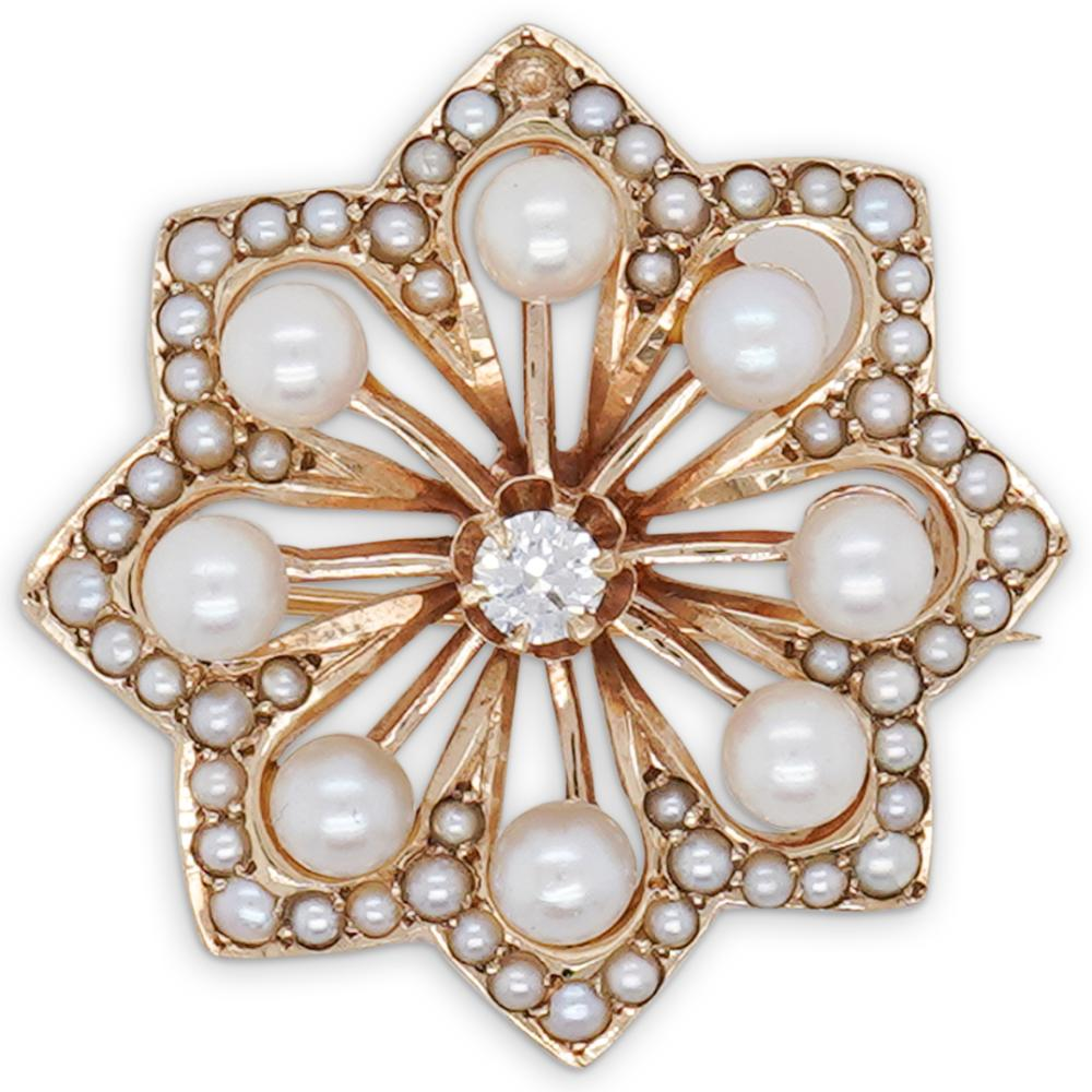 14k Gold Pearl, and Diamond Star Pin
