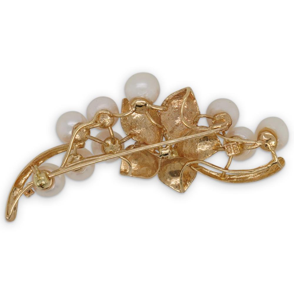 14k Gold, Diamond and Pearl Pin