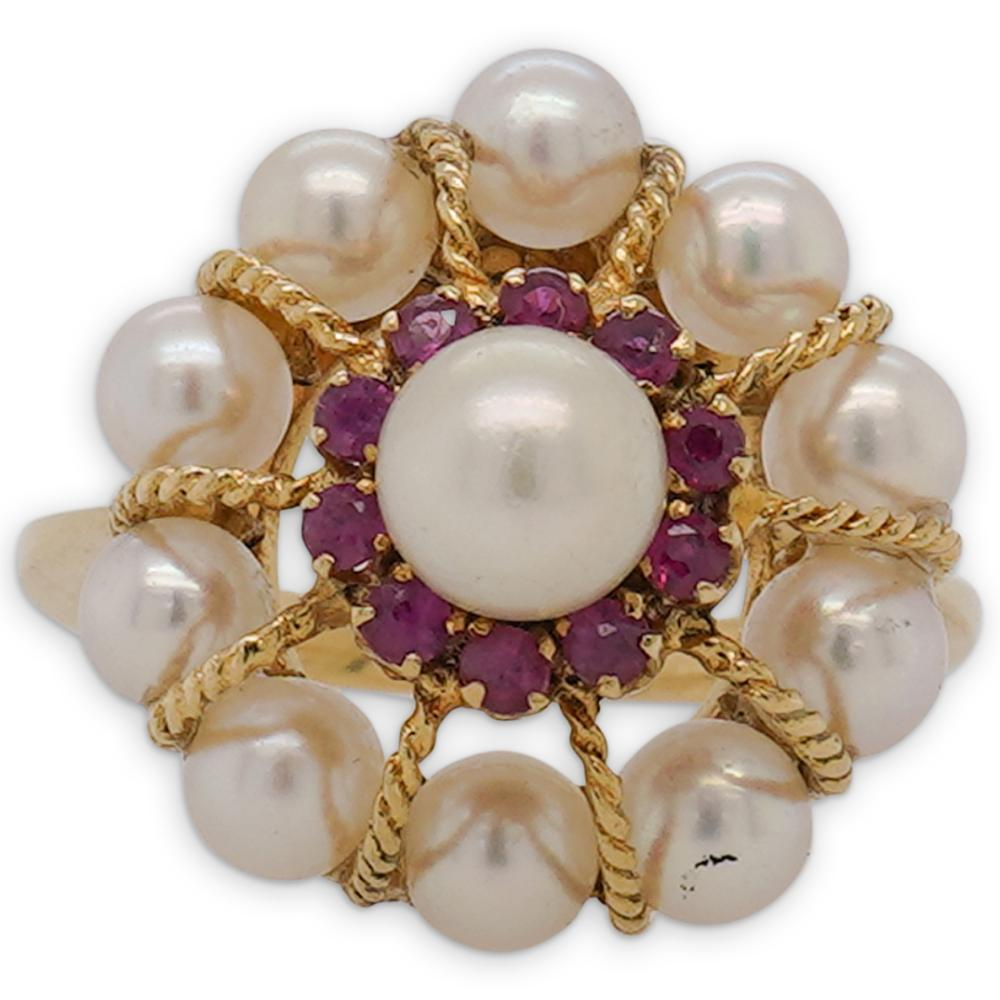 18k Gold, Ruby and Pearl Cocktail Ring