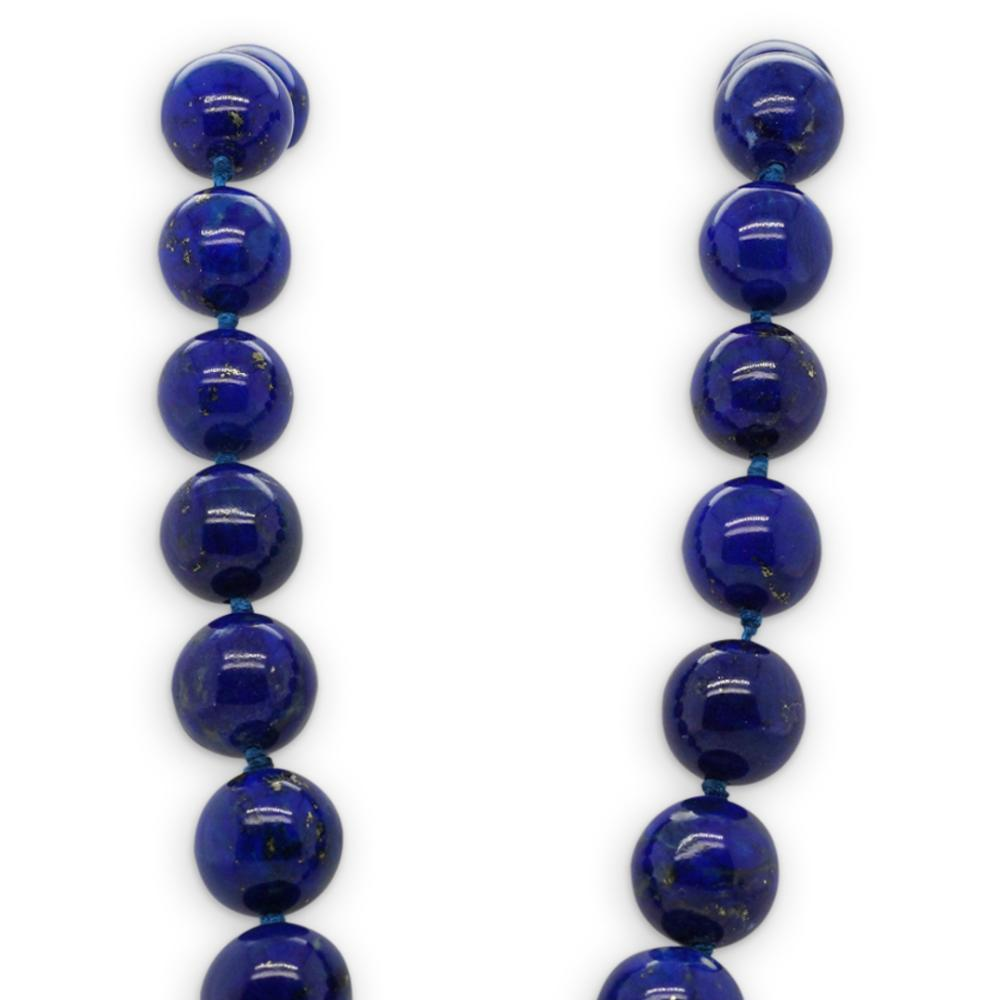 14k Gold Beaded Lapis and Diamond Necklace