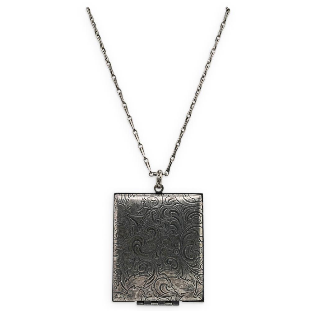 Antique Sterling SIlver Picture Locket Pendant Necklace