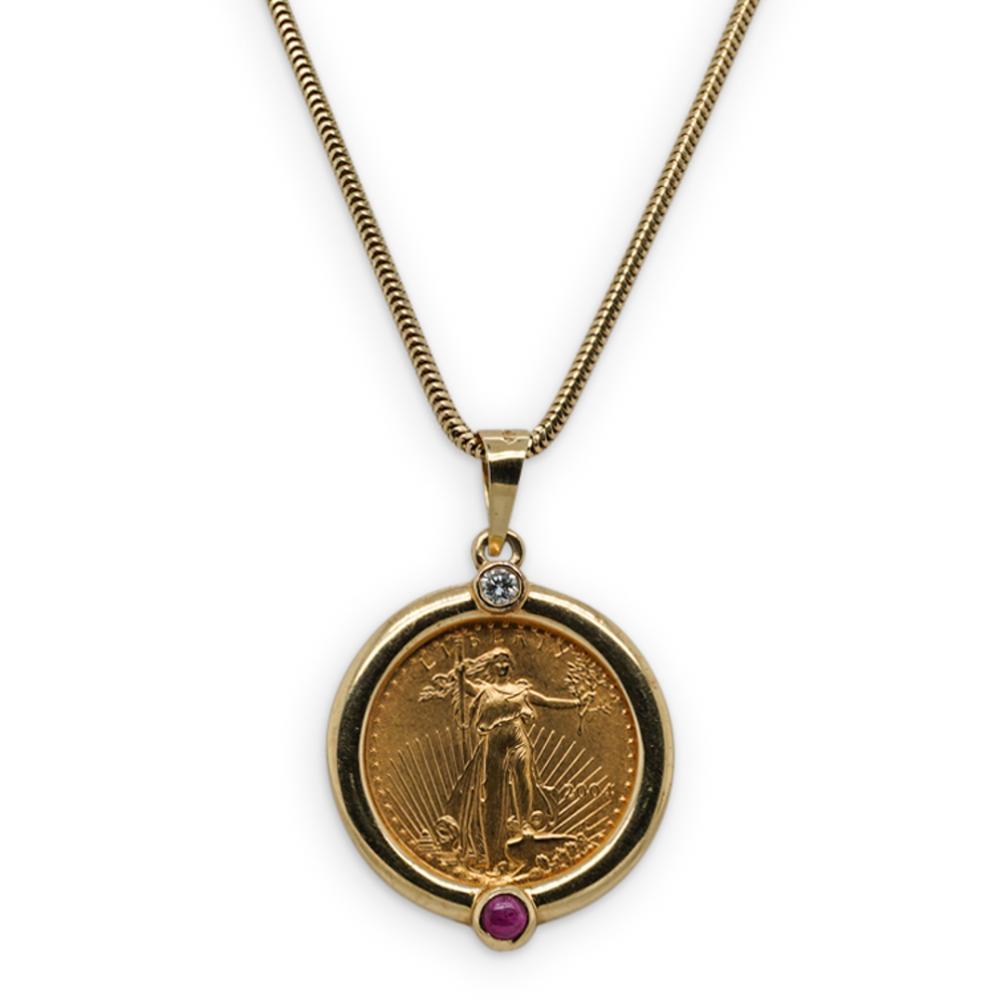 $5 Gold Eagle Ruby & Diamond Pendant Necklace