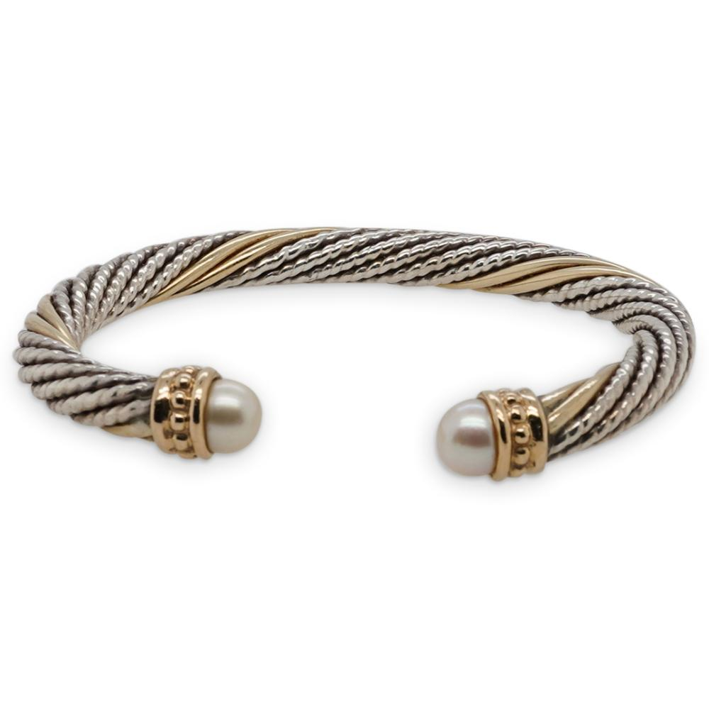 14k Yellow Gold Sterling & Pearl Bracelet