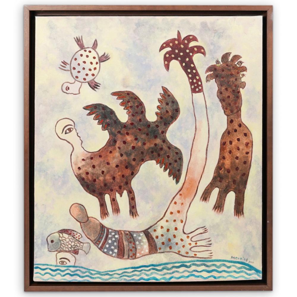 Manuel Mendive (Cuban, 1944-) Acrylic Painting