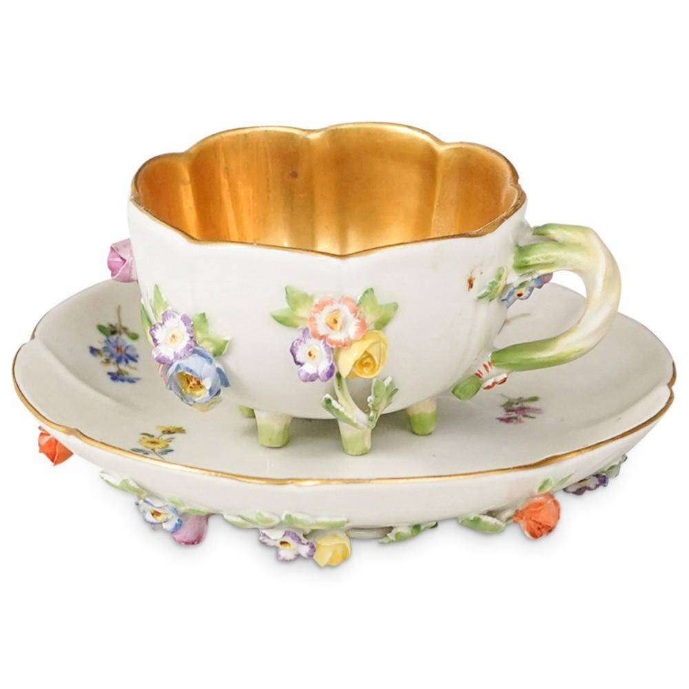 Antique Meissen Porcelain Teacup and Saucer