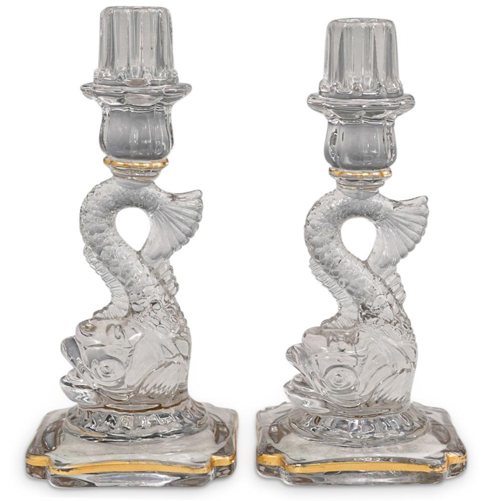 French Dolphin Clear Art Glass Gilt Candlesticks