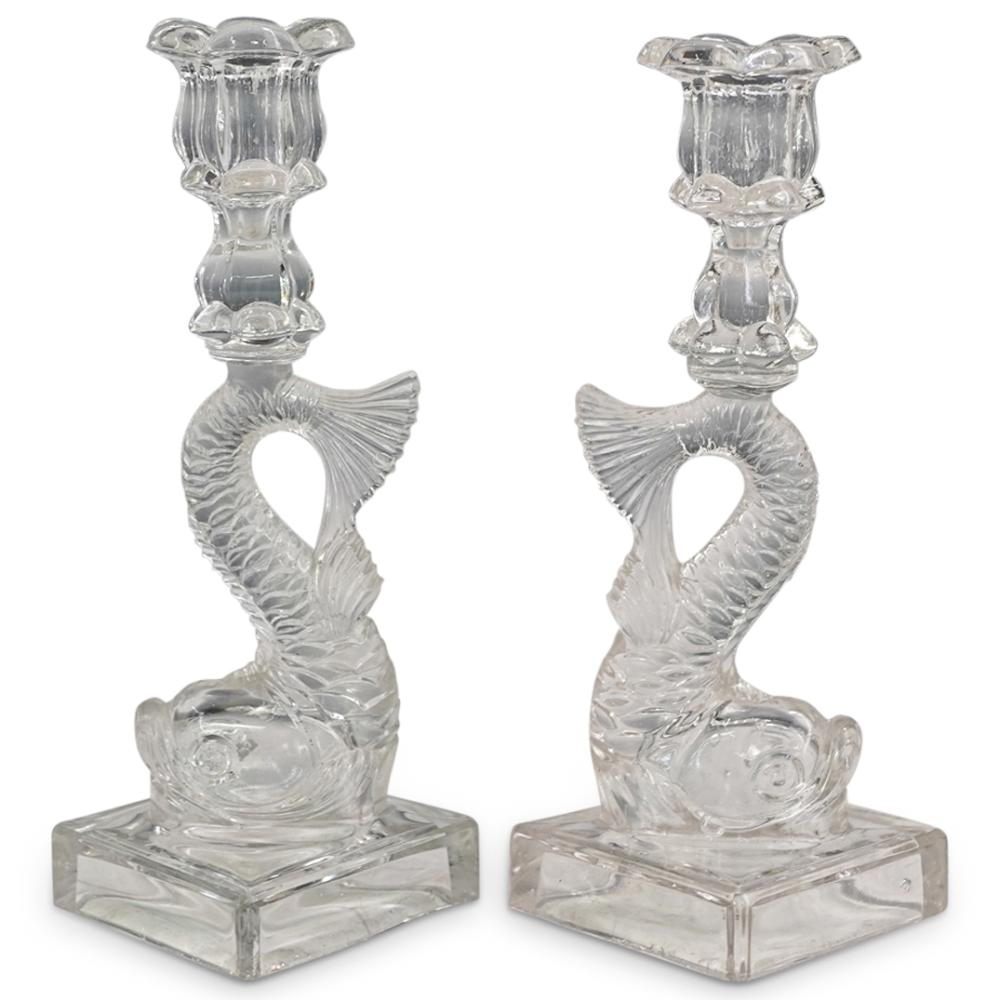 French Dolphin Clear Art Glass Candlesticks