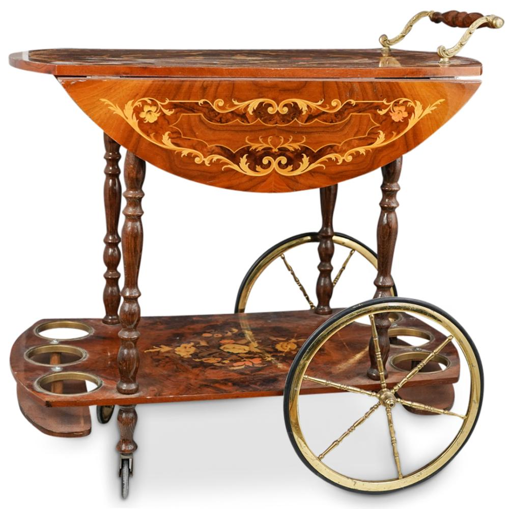 Vintage Italian Wood Liquor Cart