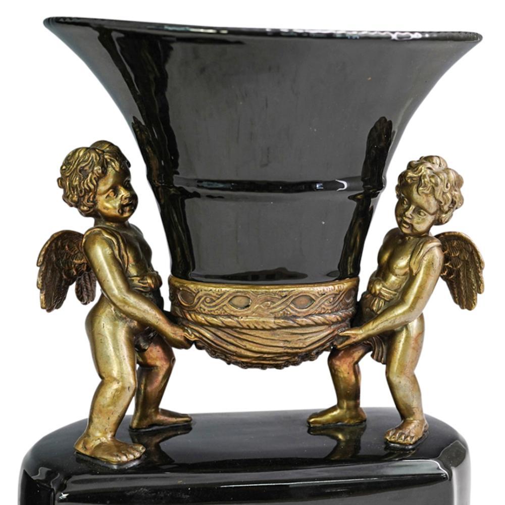 (2 Pc) Black Glazed Porcelain & Bronze Vases