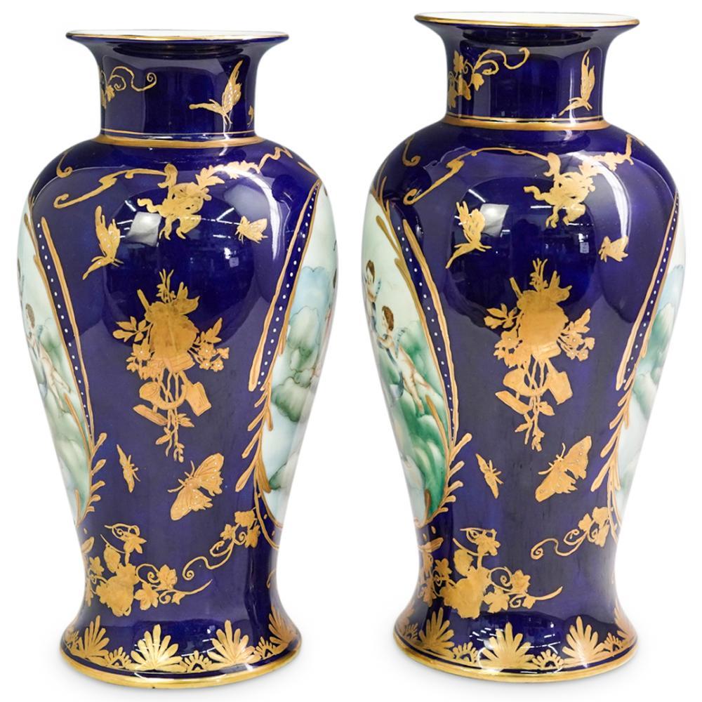 (2 Pc) Large Sevres Style Cobalt Blue Porcelain Vases
