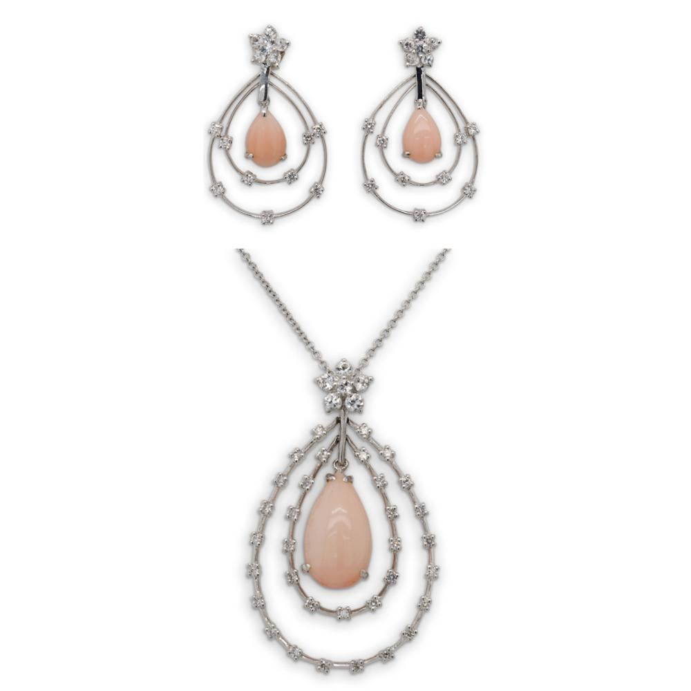 (3 pc) 18k Gold, Coral and Diamond Jewelry Suite