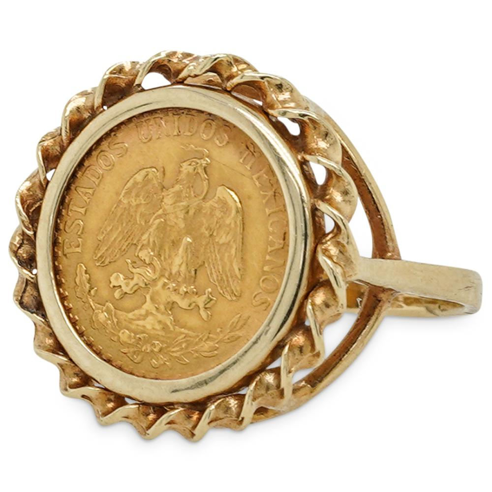 Antique Gold Mexican Peso Ring