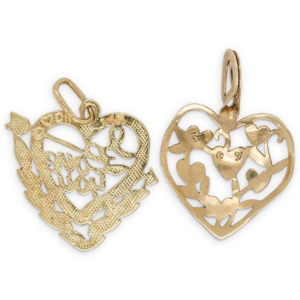 (2 Pc) 14k Gold Heart Charm Pendants