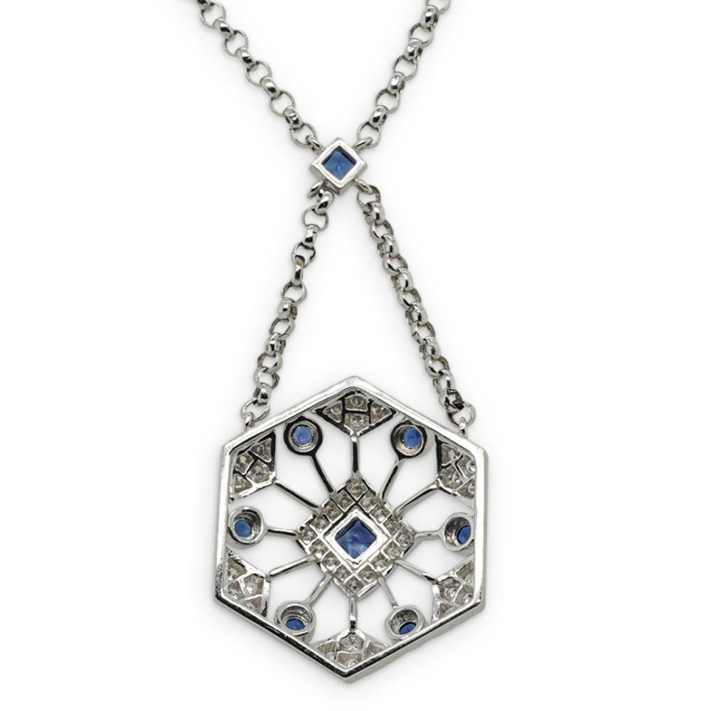 18k Gold and Sapphire, and Diamond Necklace