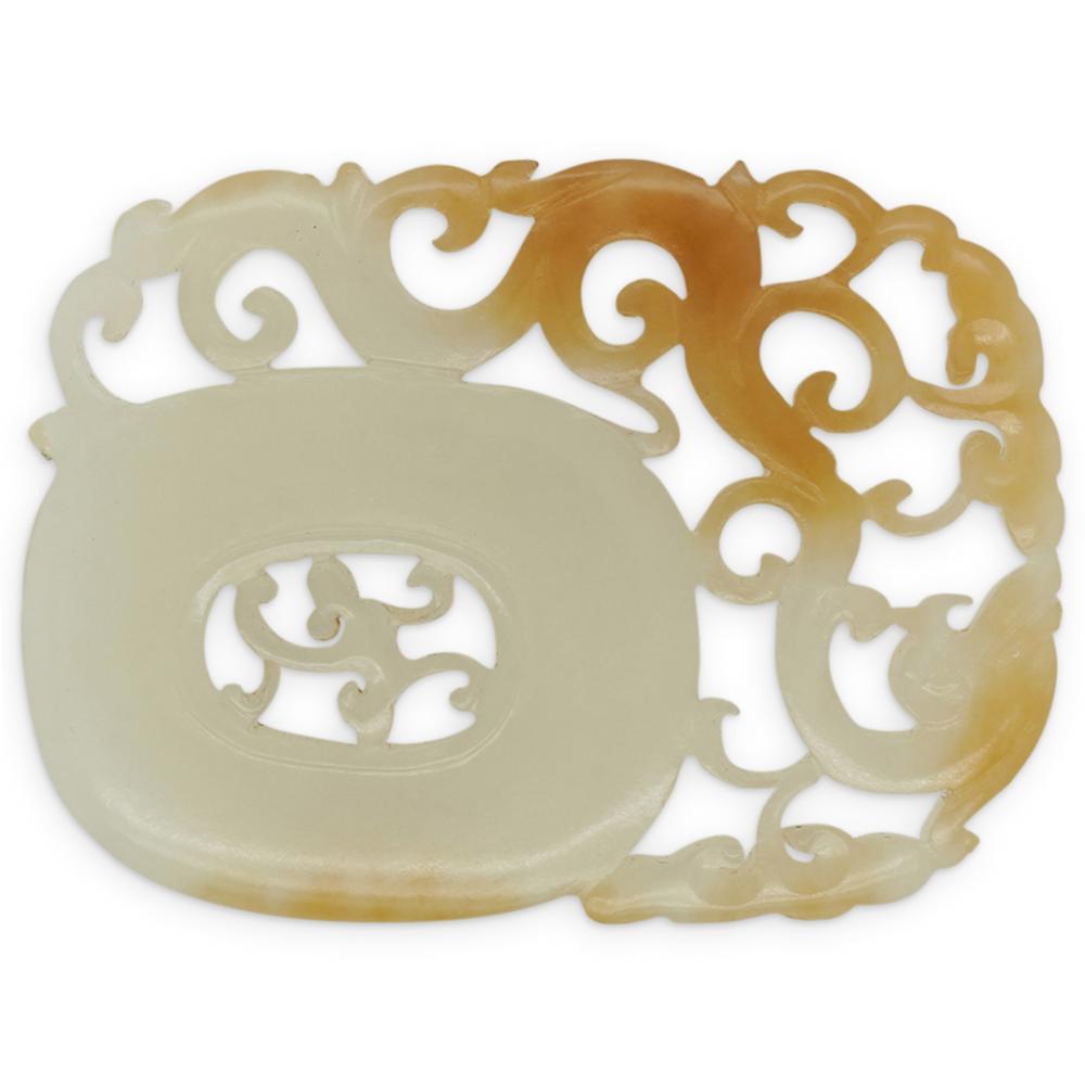 White Jade Pierced BI Dragon Plaque