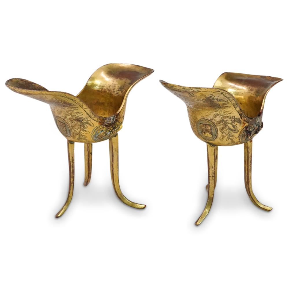 Pair of Chinese Imperial Gilt Copper Liberation Cups