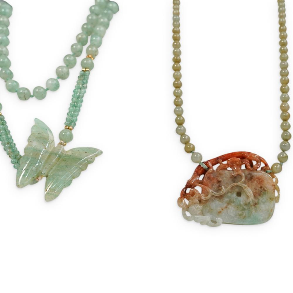 (2 Pc) Chinese Carved Jade Necklaces