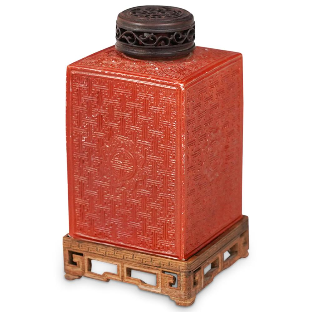 Chinese Red Ceramic Tea Caddy