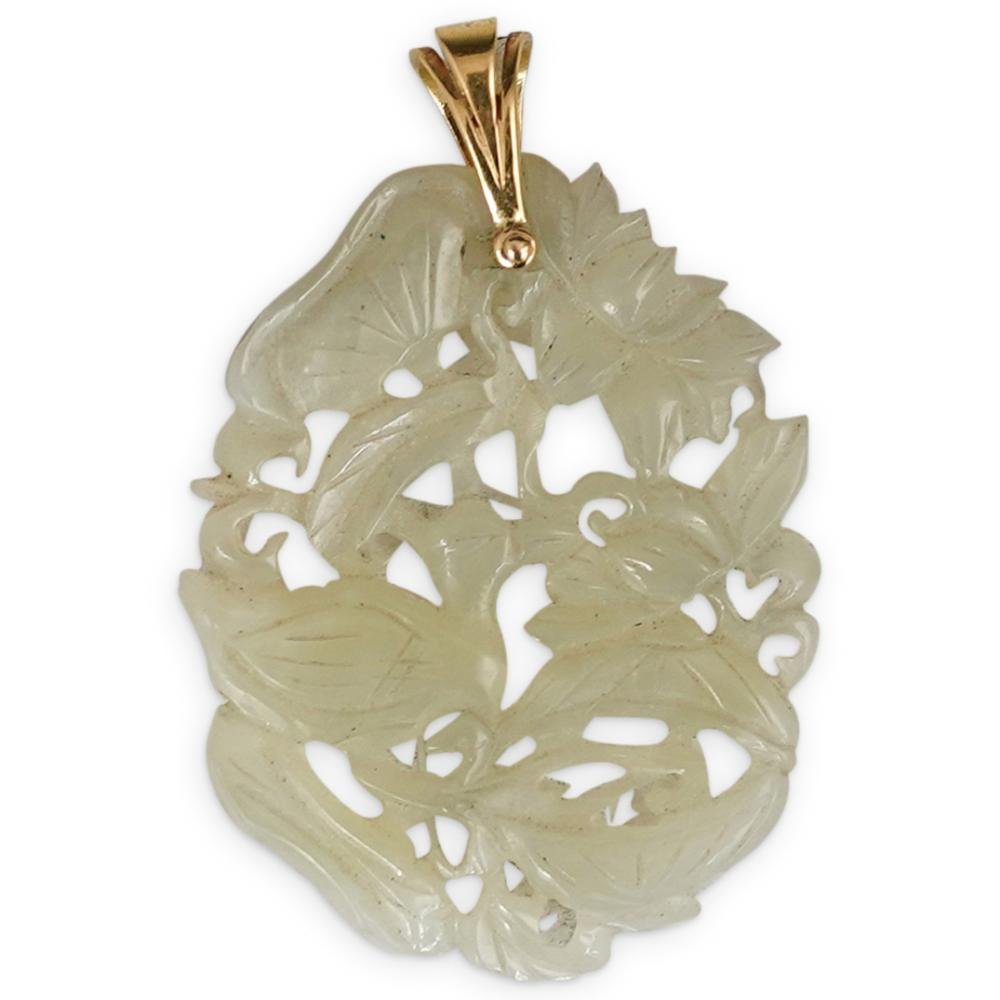 Chinese Carved Jade and 14k Gold Pendant
