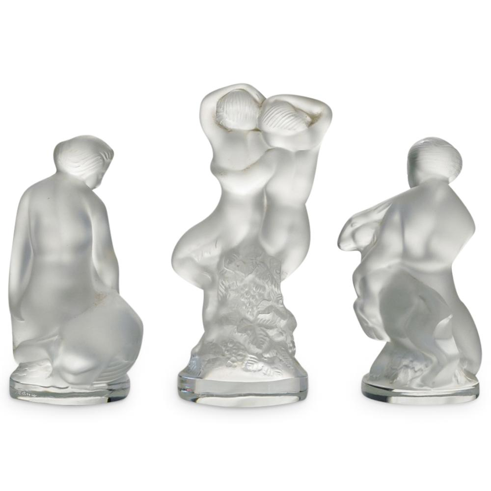 (3 Pc) Lalique Crystal Figurines