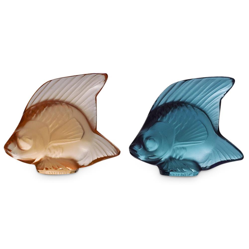 (2Pc) Lalique Poisson Fish Figurine