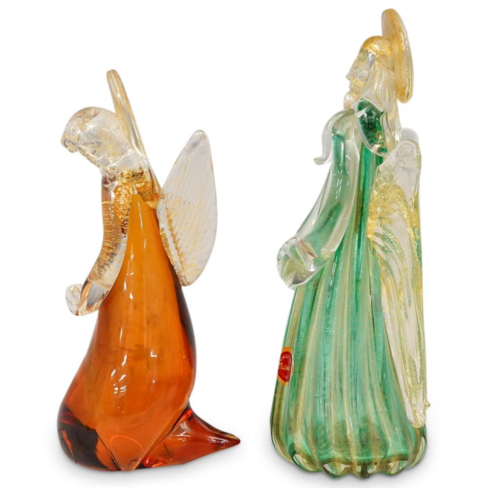 (2 Pc) Murano Glass Winged Angels