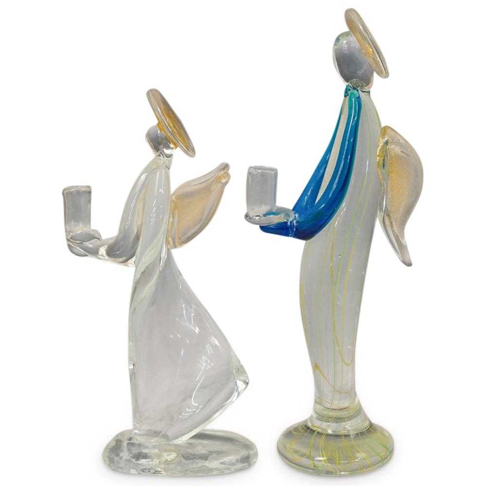 (2 Pc) Murano Art Glass Winged Angel Candle Holders