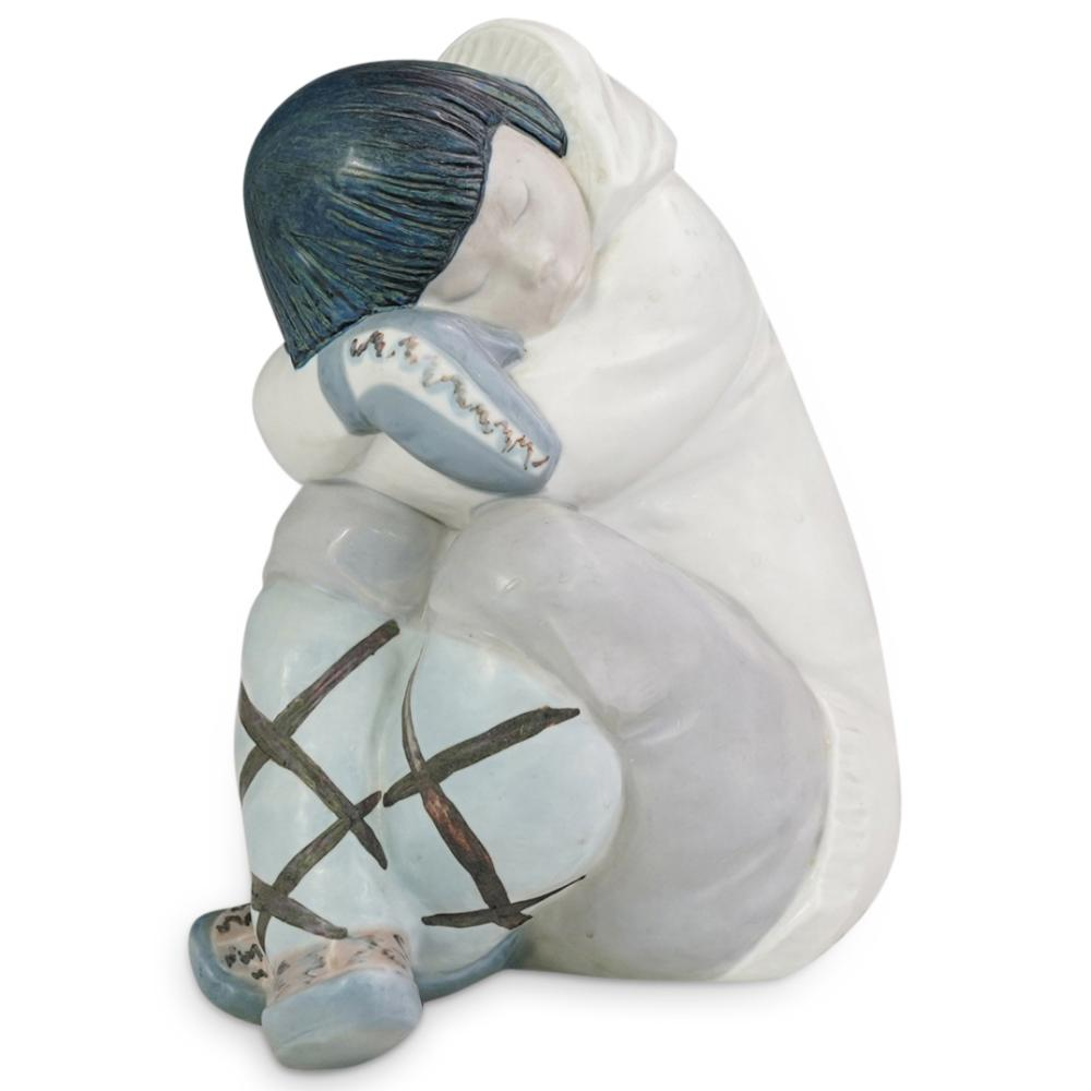 "Lladro ""Eskimo Nap"" Porcelain Statue"