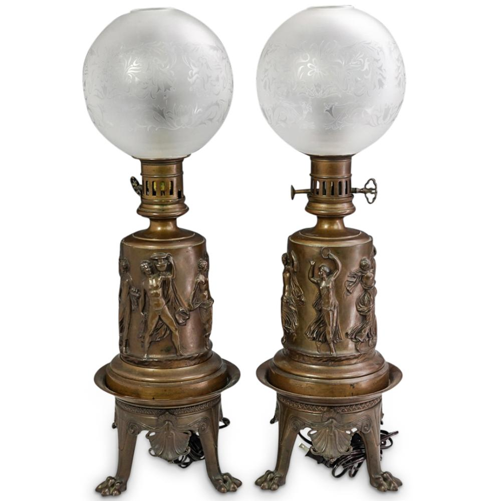 (2 Pc) Large Greco Roman Bronze Lamps