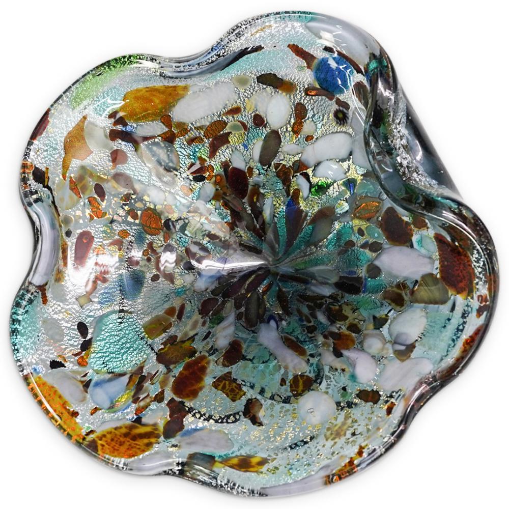 (2 Pc) Murano Tutti Frutti Sommerso Glass Ashtrays