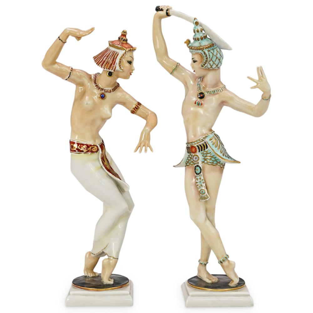(2 Pc) Hutschenreuther Kunstabteilung Porcelain Figurines