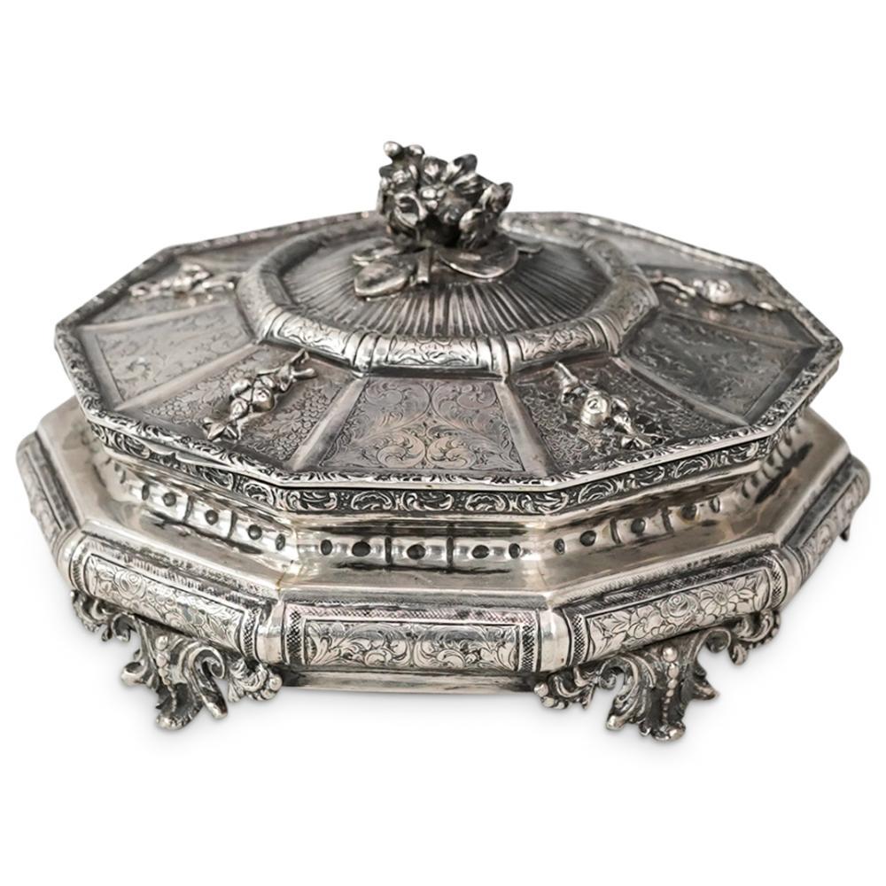 Italian 800 Silver Hinged Octagonal Lidded Box