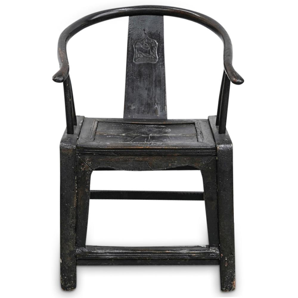 (2 Pc) Antique Chinese Wooden Chairs