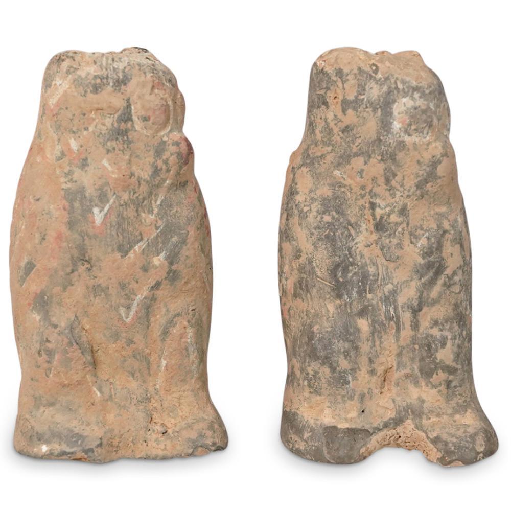 (2 Pc) Han Style Dynasty Pottery Owls