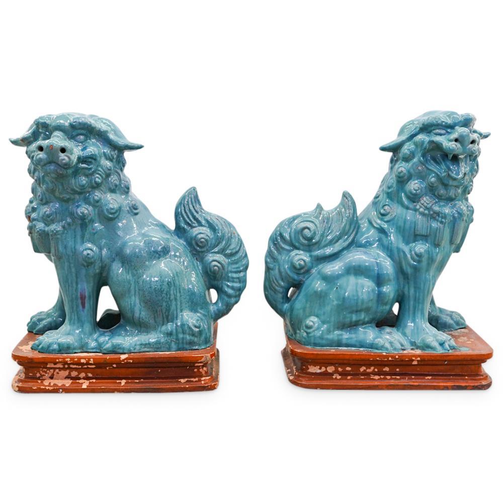 Pair of Chinese Large Glazed Pottery Foo Dog