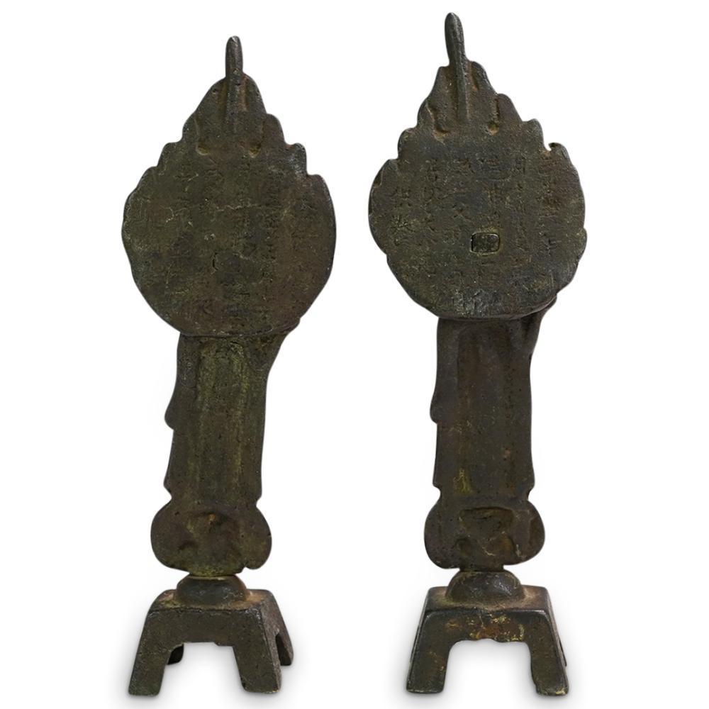 (2 Pc) Antique Chinese Bronze Buddha