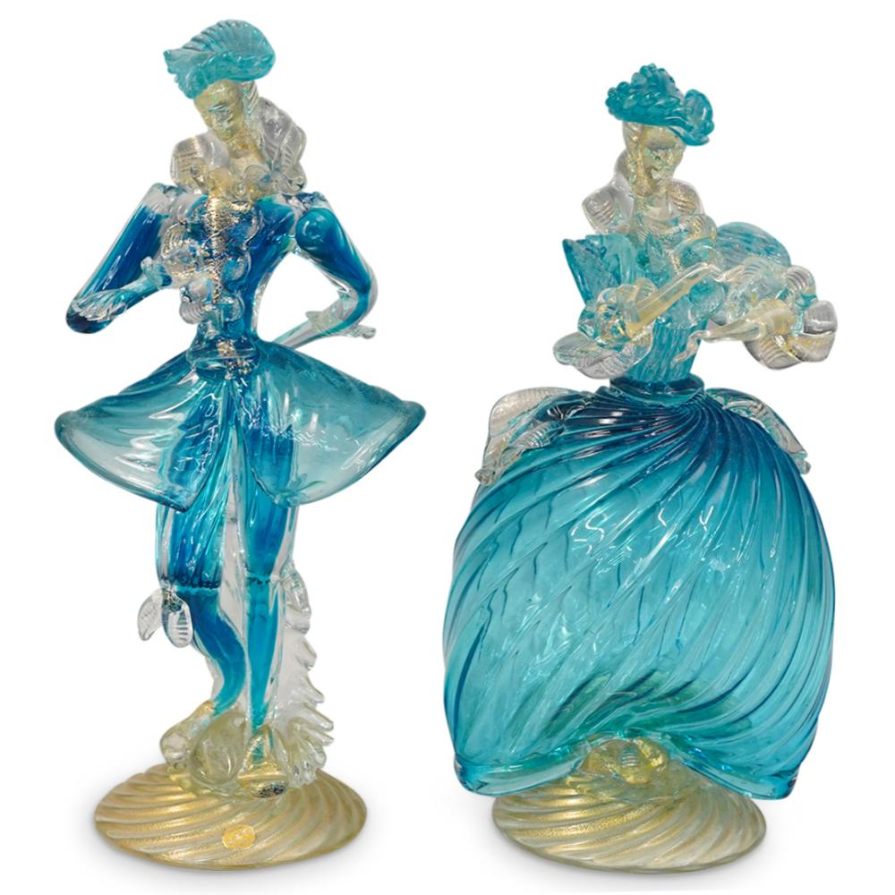 (2 Pc) Murano Glass Blue Venetian Couple Figurines
