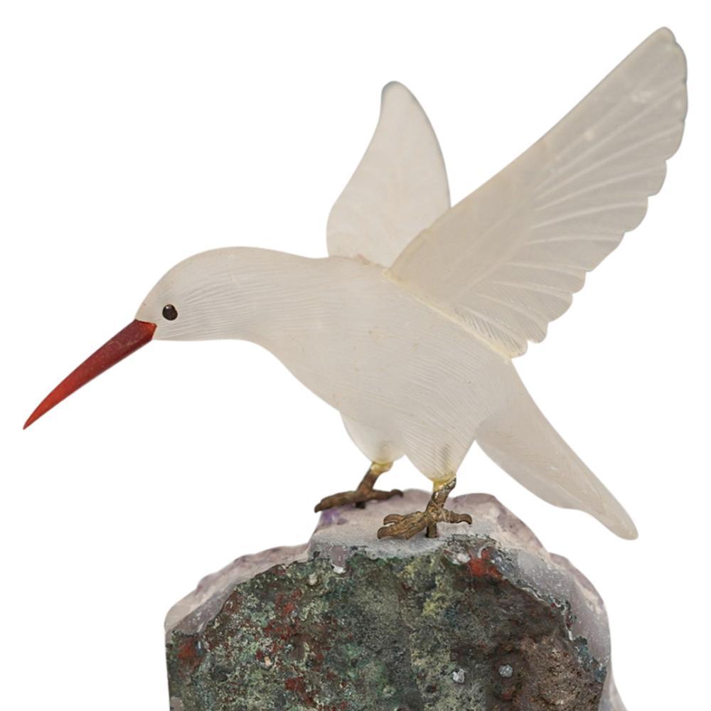 Semi-Precious Stone Carved Bird