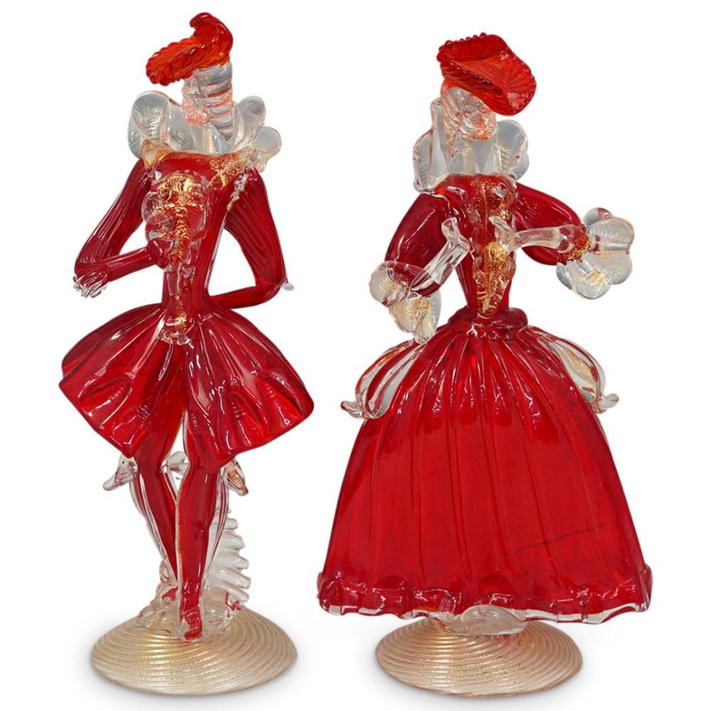 (2 Pc) Murano Glass Red Venetian Figurines